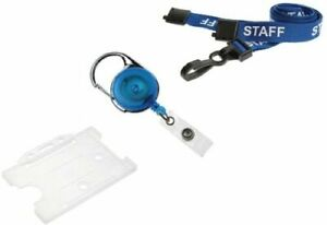 Staff Lanyard Blue With Retractable Reel Free Id Card Pass Holder Free P p