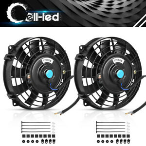 2x 8 Inch Universal Slim Fan Push Pull Electric Radiator Cooling 12v Mount Kit