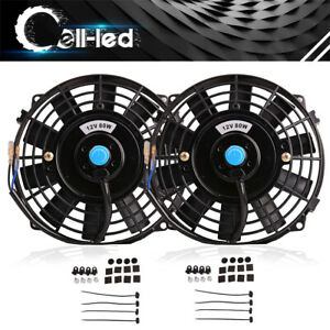 2x 8 Inch Electric Radiator Cooling Slim Fan 1350cfm Push Pull Mount Kit Truck