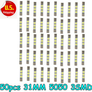 50pcs White 31mm 3 Smd 6641 Fuse Car Led Sun Visor Vanity Mirror Light Bulbs Us