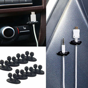8pcs Car Charger Line Headphone Usb Cable Cord Car Clip Interior Accessories