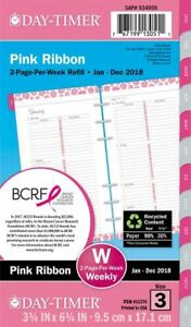 Pink Ribbon 2 page per week Planner Refill Portable Size Loose leaf