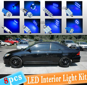 8 pc Blue 10k Led Interior Light Package Kit Fit 2001 2005 Honda Civic Lx Ex Si
