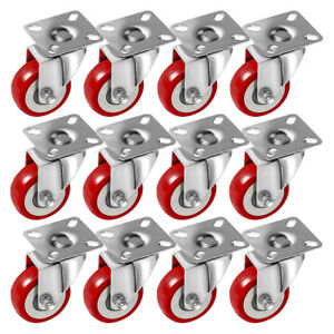 12 Pack 2 Caster Wheels Swivel Plate Casters On Red Polyurethane Wheels