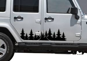 Forest Tree Side Decal Graphics Door Sticker Outdoors Jeep Wrangler 4x4 Usa