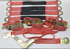 4 Heavy Duty Cargo Snap Hook Ratchet Tie Down Straps 4 3ft Axle Straps Red