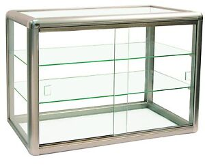 Elegant Champagne Trim Anodized Aluminum Display Table Top Tempered Glass Sho