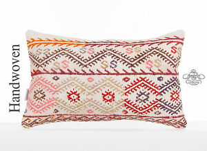 Embroidered Cottage Pillow 12x20 Lumbar White Kilim Pillowcase Anatolian Cushion