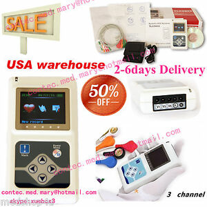 2017 New 24h 3 channel Ecg ekg Holter System Analyzer Software Recorder Monitor