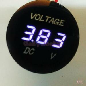 10x Mini Dc 6 30v White Led 3 digital Diaplay Voltage Voltmeter Panel Meter