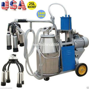Portable Electric Milking Machine Milker Cows Stainless Steel 25l W Bucket