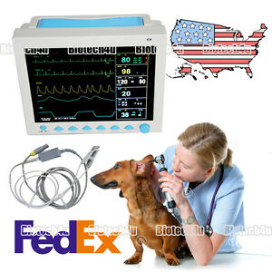 Usa Fedex Vet Veterinary Patient Monitor Vital Signs Icu 6 parameter Cms8000