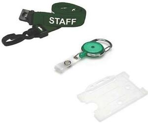 Staff Lanyard Neck Strap Green With Retractable Reel Free Id Card Pass Holder