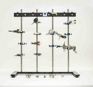 Radnoti 4 Bar Lot Of 2 Lab Stands With Stabilizer Bars And 24 Ss Rods 3019