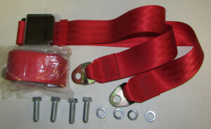 Dark Red Seat Belt Non Retractable Red Lap Seat Belts 2 With Mounting Kit 74