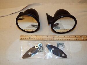 4 Bullet Race Sports Car Gt Racing Black Side Exterior Mirror Hot Rat Rod Pair