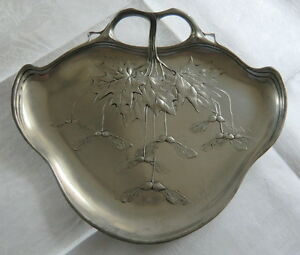 Circa 1900 Art Nouveau Orivit Tray With Aok Leaves