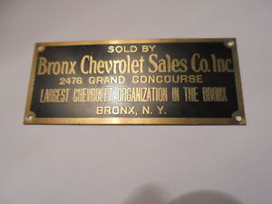 Vintage 1940 S Brass Sold By Bronx Chevrolet Sales Co N Y Car Dealer Tag