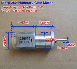 Dc6v 12v 500rpm Mini 280 Planetary Gearbox Gear Motor Large Torque Diy Robot Car
