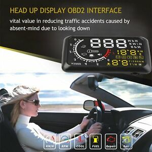 5 5 Universal Car Hud Head Up Eu Obd Obd2 Speed Km H Mph Rpm Display System