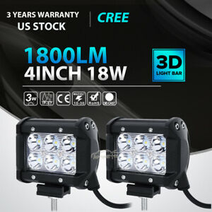 2x 4inch 18w Led Work Light Bar Spot Pods Offroad Fog Lamp 4wd Pickup Atv Truck