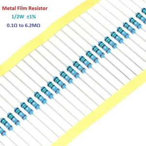 50pcs 1 2w 0 5w Metal Film Resistor 1 Tolerance 0 1 Ohm To 6 2m Ohm
