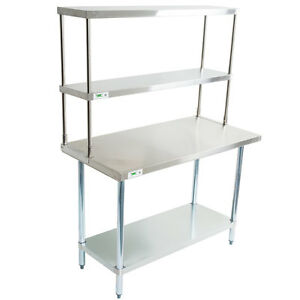 30 X 48 Stainless Steel Work Prep Table Double Over Shelf Overshelf Commercial