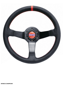 Sparco Champion Street Steering Wheel 330mm Perforated Leather Red Stitching