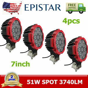 4x 7inch 51w Epistar Led Round Spot Driving Light Offroad Truck Work Lamp Red