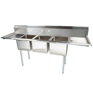 103 Stainless Steel 3 Compartment Commercial Dishwash Sink Restaurant Three Nsf