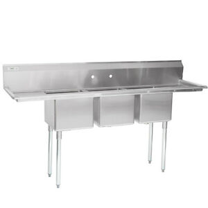 79 Stainless Steel 3 Compartment Commercial Dishwash Sink Restaurant Three Nsf