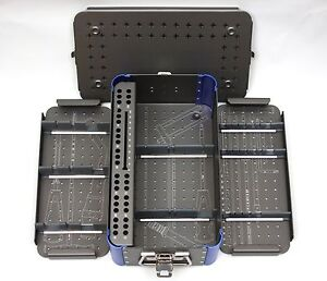 Empty Small Cannulated 7 3mm Screw Rack Instrument Case 2 Removable Trays
