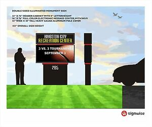 Custom Pylon Monument Sign With Full Color Electronic Message Center With Wi fi