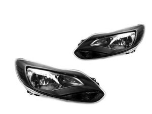 Black Headlights W Smoke Reflector For 12 14 Ford Focus Sedan Hatchback