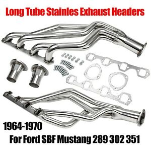 Fits Ford Sbf Mustang 289 302 351 64 70 Long Tube Stainles Exhaust Headers New