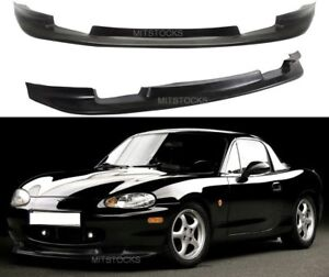 Fits 1999 2000 Miata Gv Style Pu Black Add On Front Bumper Lip Dam Spoiler Chin