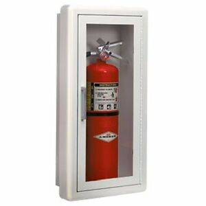 Ambassador Full Glass Semi recessed Fire Extinguisher Cabinet With Lock 1017g10