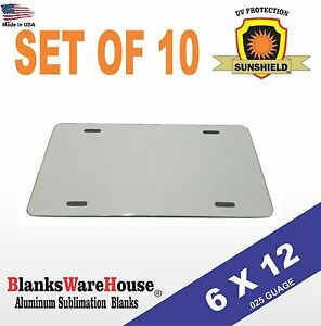 10 Pieces Aluminum License Plate Sublimation Blanks 6 x 12 New Best Quality