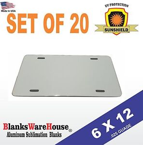 20 Pieces Aluminum License Plate Sublimation Blanks 6 x 12 New Best Quality