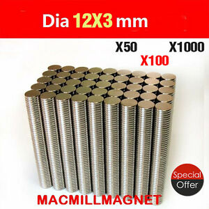 Lot N50 n35 12x3mm Strong Ring disc Magnet Round Hole 4mm Rare Earth Neodymium