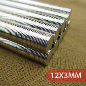 Lot 100 200 1 2 x1 8 Neodymium Disc Strong Rare Earth N35 Fridge Magnets 12x3mm
