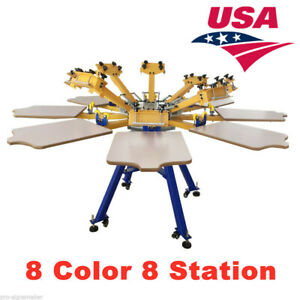 8 Color 8 Station Screen Printing Machine Press T shirt Equipment Diy Us Stock