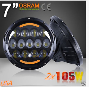 7 2pcs Osram 105w Round Led Headlight Hi lo Beam Bulb For Jeep Wrangler Jk Tj