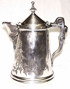 Ice Water Pitcher Egyptian Revival Silverplate Rogers Ivy Patent 1854 68