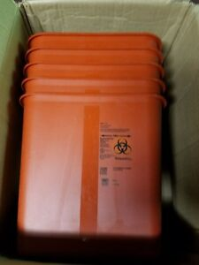 Covidien Biohazard Sharps Container W Rotor Lid 2 Gal Red Srro100970 Qty 5