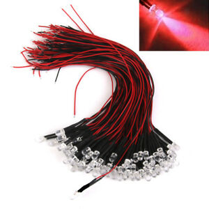 20pcs Red Led Lamp Light Bulb 20cm Pre Wired 5mm 12v 24v Dc