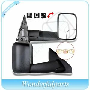 Left Right Side Mirrors Tow Manual Flip Up Black For 2002 09 Dodge Ram 1500 3500