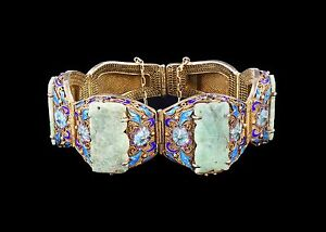 A Chinese Antique Jadeite Filigree Cloisonne Silver Bracelet Qing Dynasty