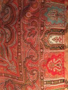 Antique 1900s Paisley Woven Red Earth Colors Gorgeous Throw Coverlet Tapestry