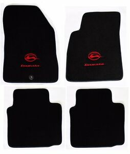 New Black Floor Mats 2006 2014 Chevy Impala Embroidered Running Double Logo Red